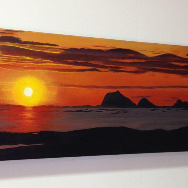 30x80 cm, akryl på lerret. Helgelandskysten. Kr. 4000,-