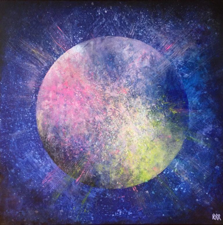 """""""Vår vakre nye jord"""", 50x50 cm, akryl på lerret. Kr 3000,-"""
