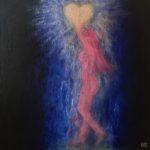 """Holde lyset"". 40x40 cm, akryl på deep edge canvas. Kr. 2000,-"