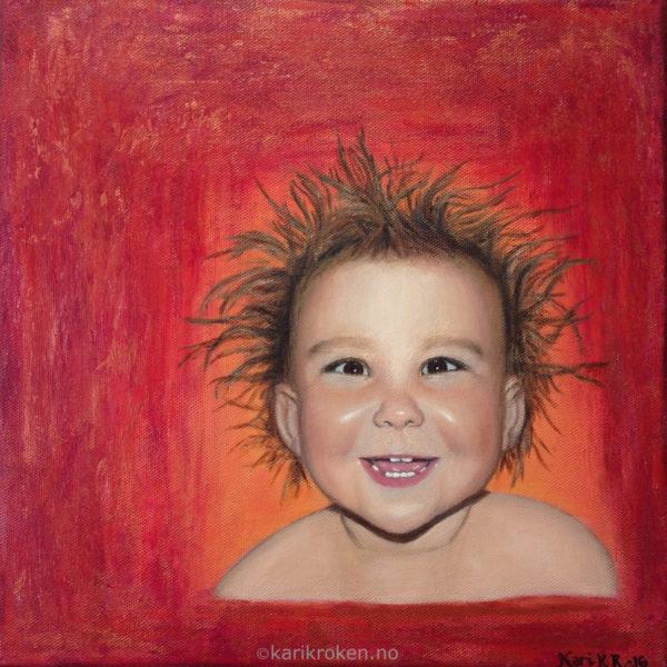 30x30 cm, akryl. Portrett av datteren min