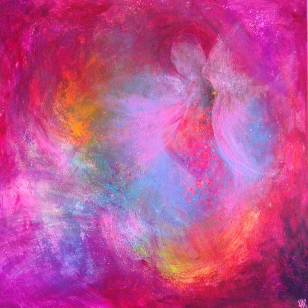 """""""Fargeforløsning"""" 70x70 cm, akryl på lerret. Kr. 3600,-"""