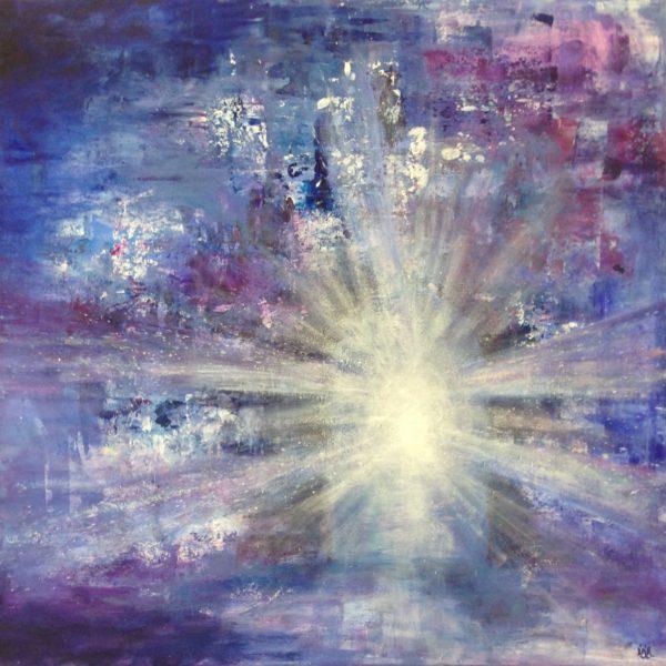 """""""In to the light"""". 70x70 cm, akryl på lerret. Kr. 3600,- SOLGT!!"""