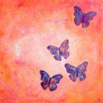 """""""Ut å fly"""" 60x60 cm, akryl på revet papir og deep edge canvas. Kr. 3000,-"""