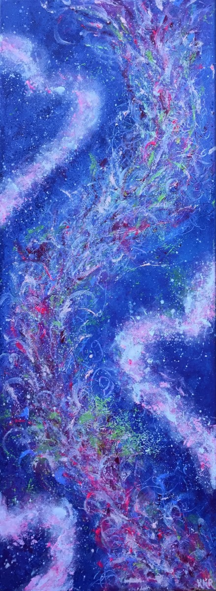 """Hjertekraft"". 30x80 cm, akryl på deep edge canvas. Kr. 3000,-"